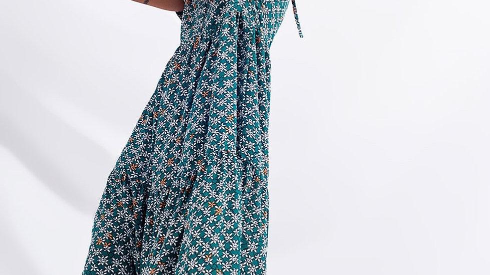 Tier Hem Midi Dress in Mixed Floral in Green