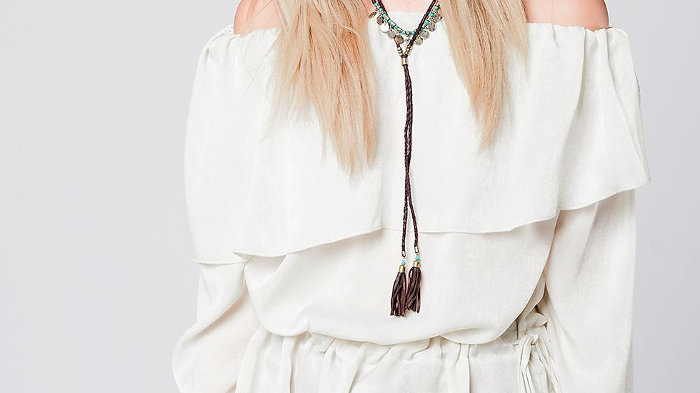 Soft Beige Blouse with Drawstring