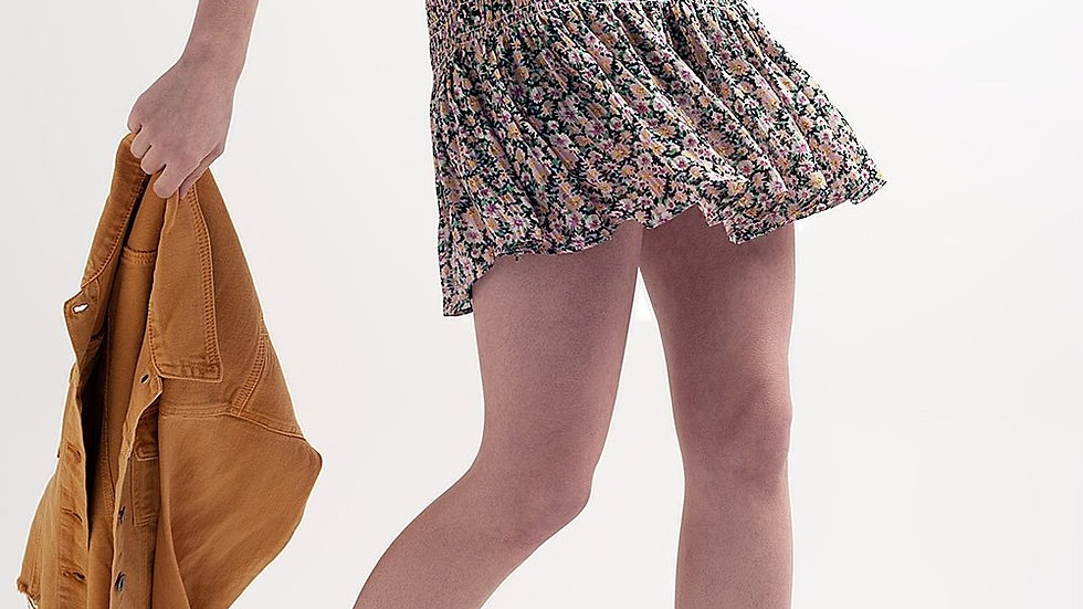 Shirred Skater Skirt Co-Ord in Black Ditsy Floral