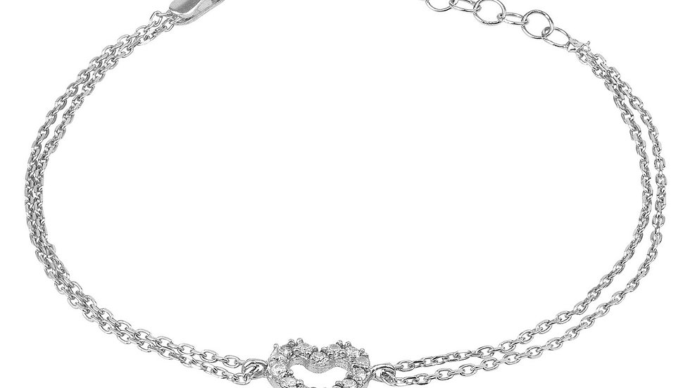 Heart Mini CZ Double Strand Bracelet Silver