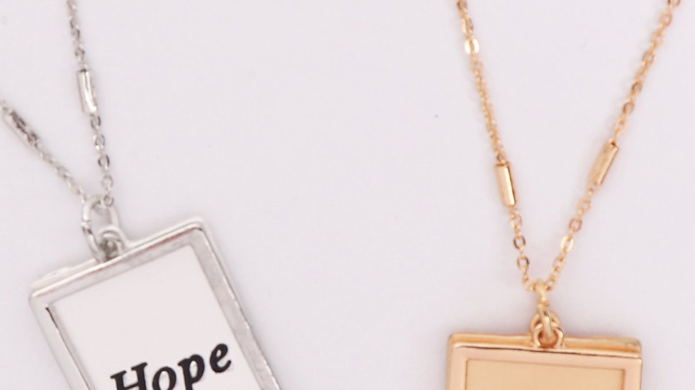 """""""Hope"""" Etched Brass Box Pendant Necklace"""