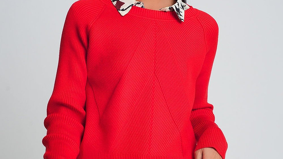 Round Neck Rib Knitted Sweater in Red