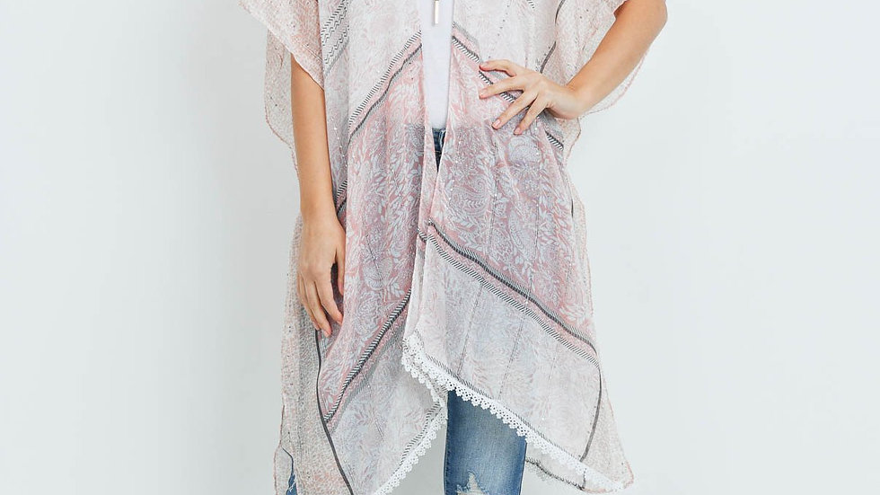 Laced Open Front Kimono