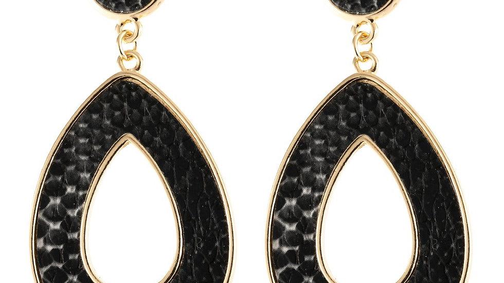 Linked Pear-Shape Snake Skin Printed Dangle Post Earrings