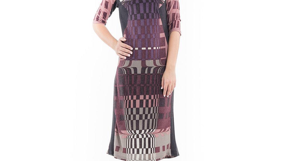 Geometric Pattern Sweater Dress