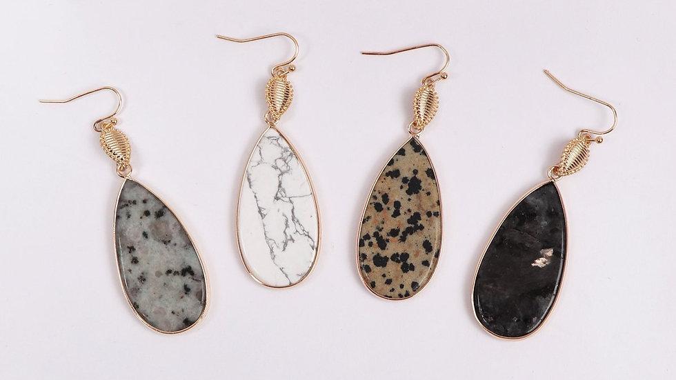 Teardrop Natural Stone Drop Earrings