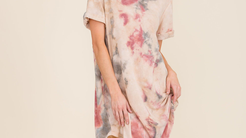 Oversized Tie-Dye Shirt Dress