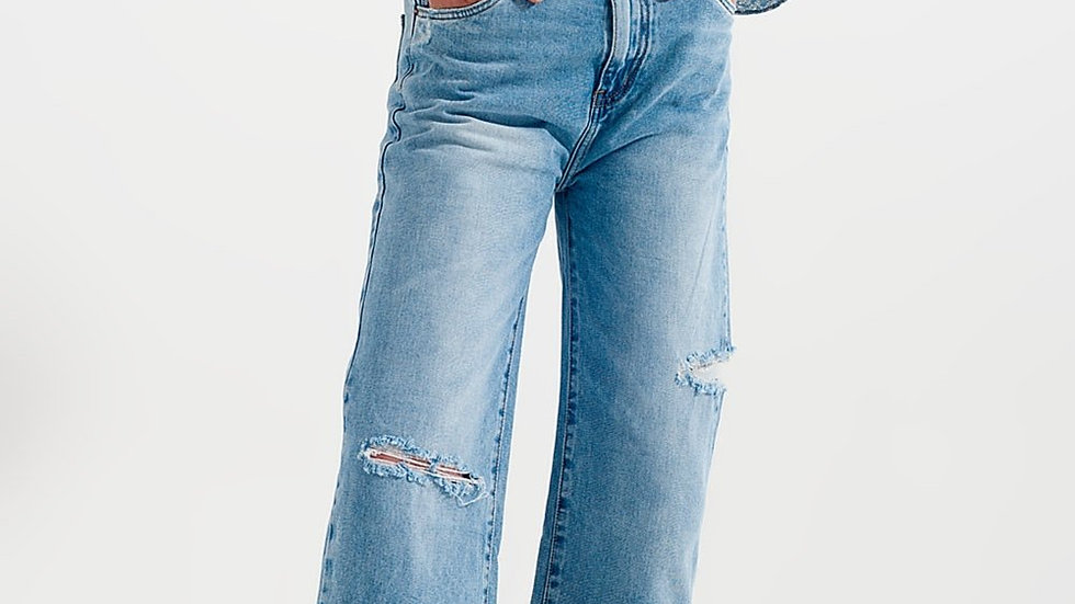 Wide Leg Jean with Knee Rips Washed Blue