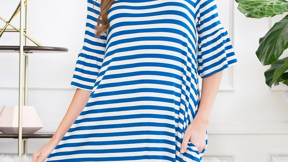 Striped Bell Sleeved Swing Pocket Dress