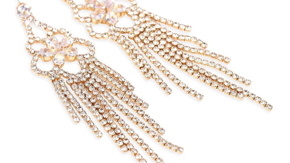 Rhinestone Flower Chandelier Earrings