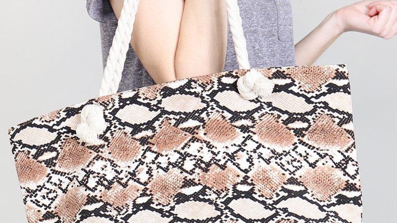 Printed Snake Skin Tote Bag