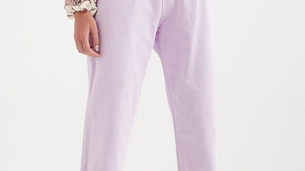 High Rise Mum Jeans with Pleat Front in Lilac