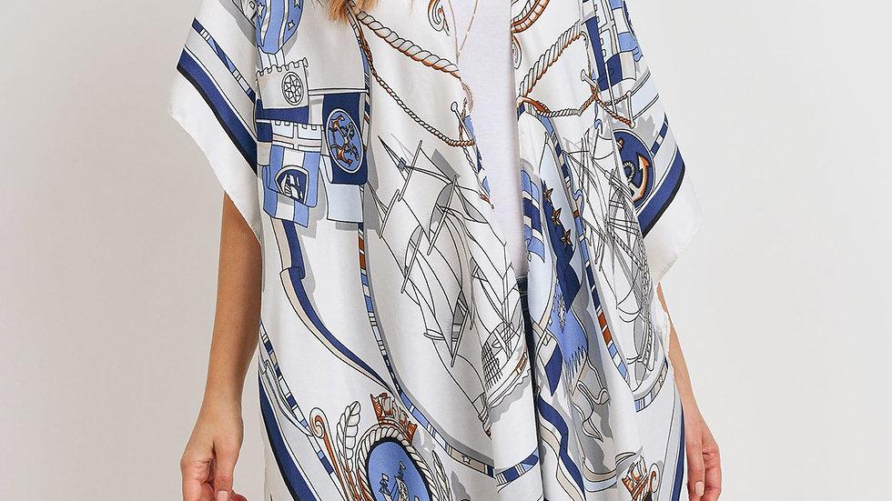 Sailors Inspired Pattern Open Front Kimono