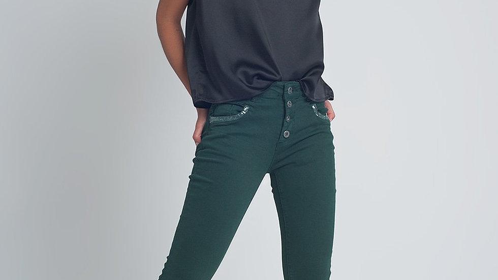 Green Boyfriend Jeans with Sequin Pocket Detail