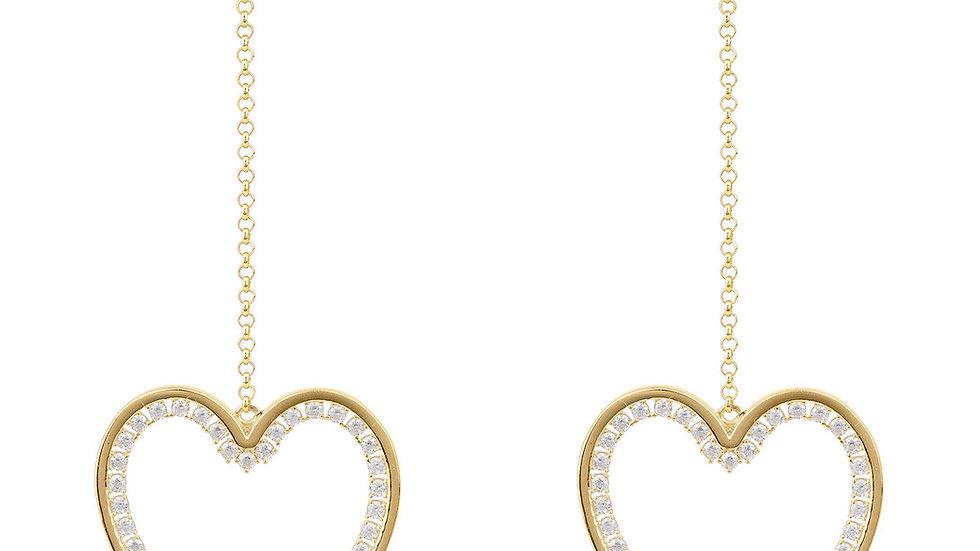Heart Big Drop Earrings Gold