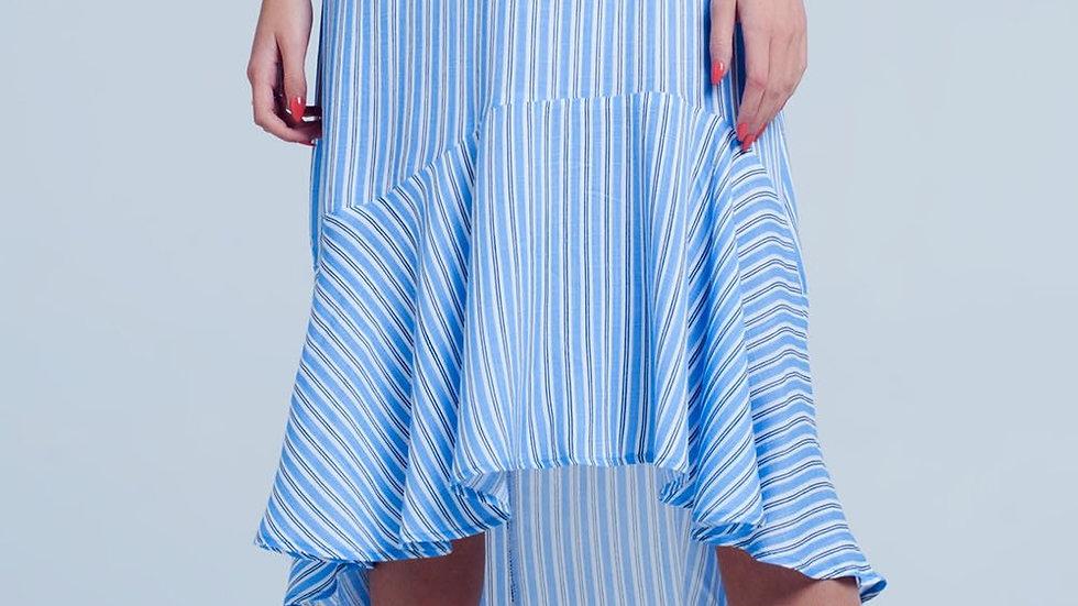 Blue Stripe Asymmetric Hem Midi Skirt