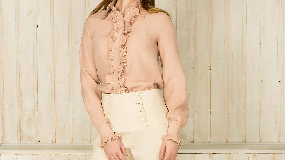 Pale Pink Ruffled Viscose Long Sleeve Shirt