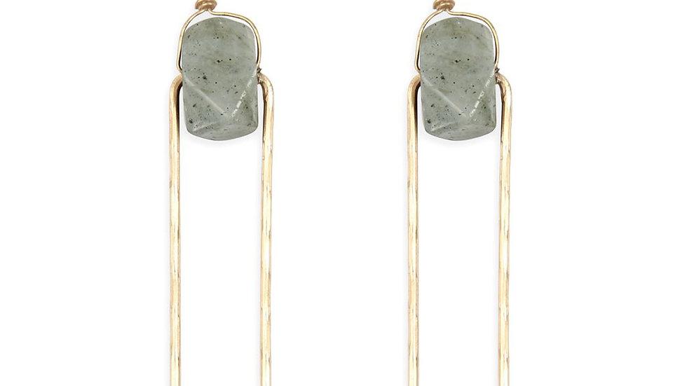 Semi Stone Linked Texture Wire Drop Earrings