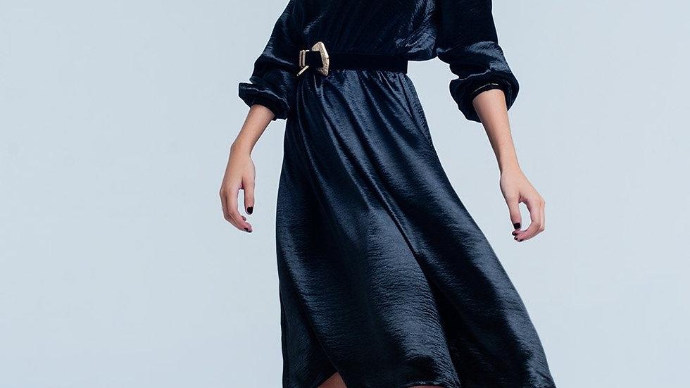 Black Satin Party Midi Dress