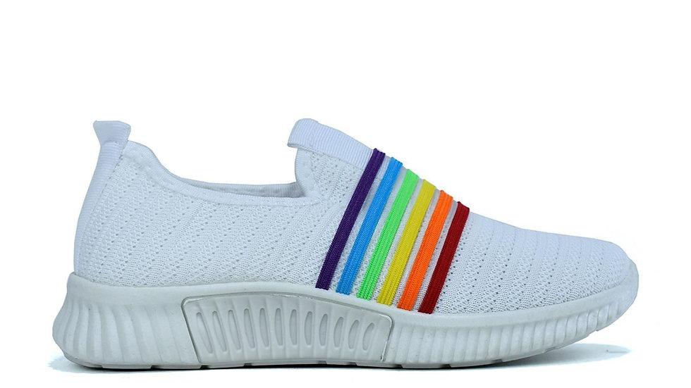 Stripe Canvas Trainers White