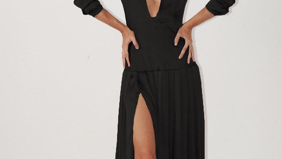 Long Sleeve Pleated Dress