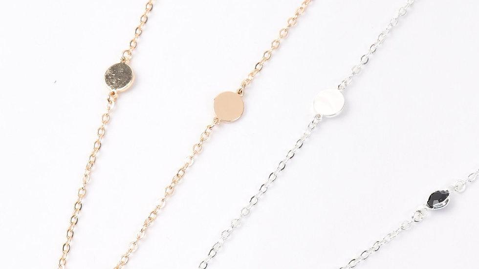 Glass Stone Round Station Necklace