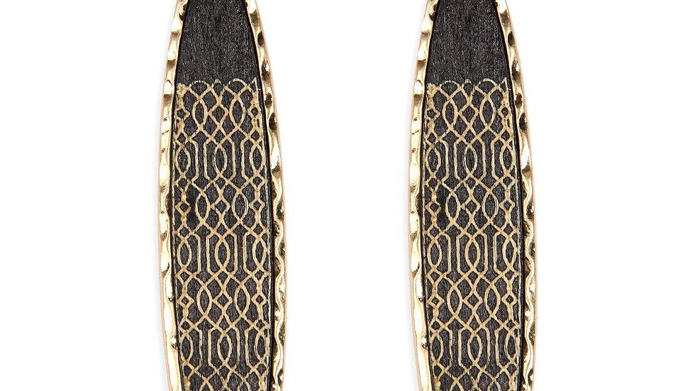 Wood Laser Filigree Oblong Drop Earrings