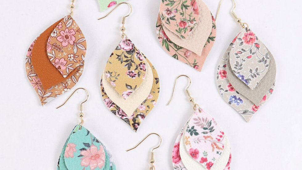 Floral Leather Marquise Drop Earrings