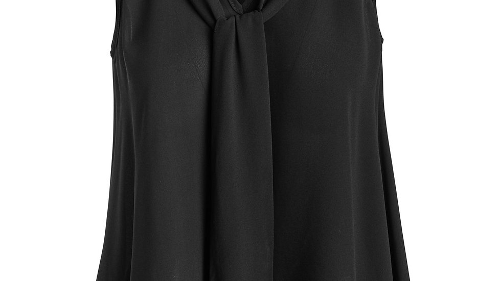 Tie Detail Sleeveless Top Black