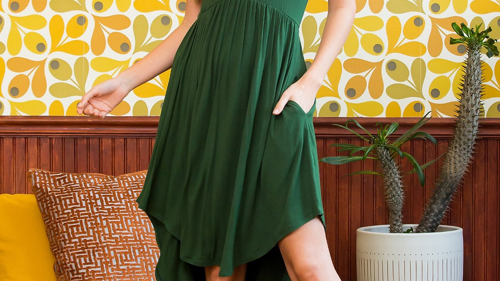 Solid High-Low Empire Pocket Dress