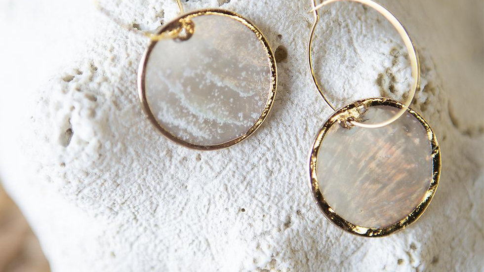 Capiz Shell Earrings-Round