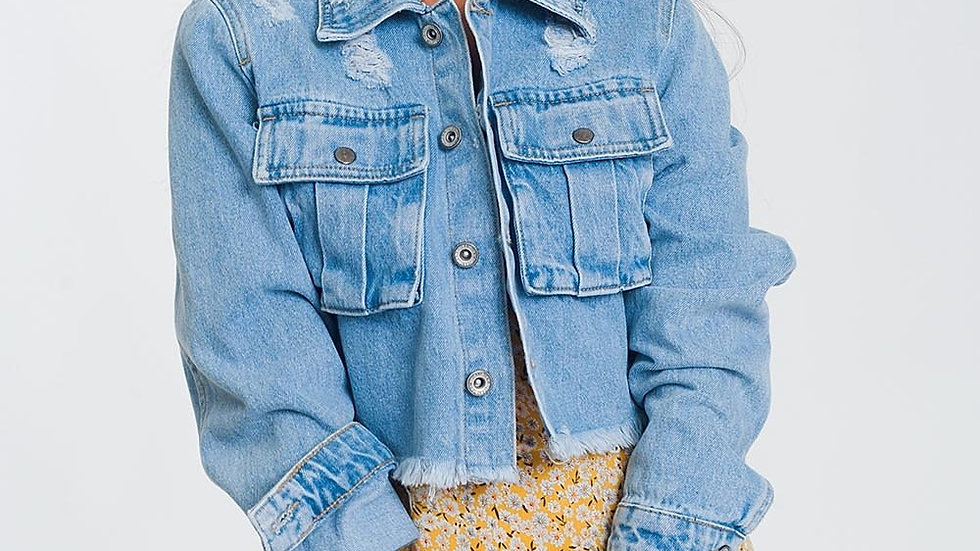 Cropped Denim Jacket With Raw Hem in Light Denim