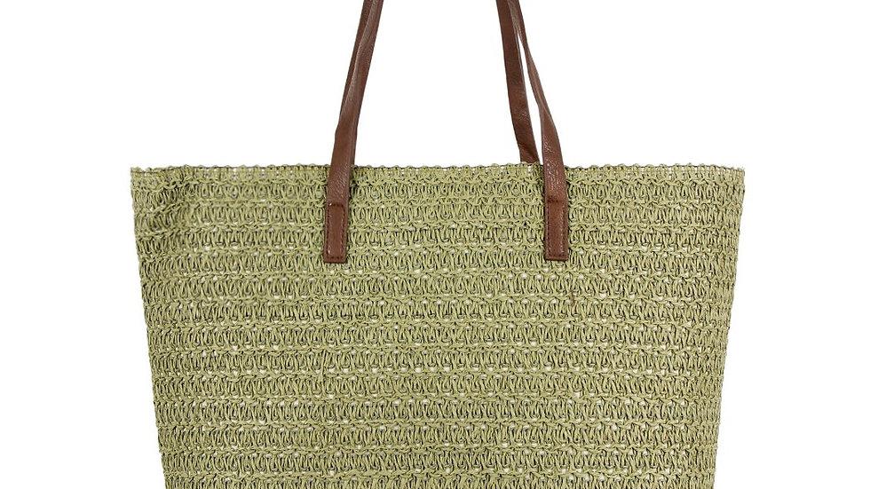 Olive Straw Tote Bag