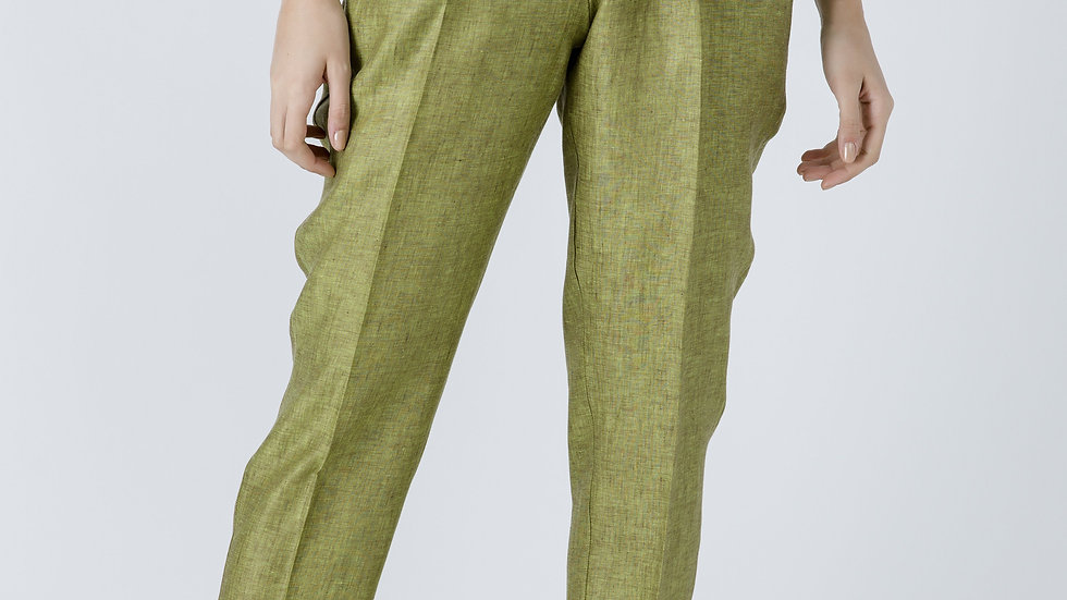 Green Linen Drawstring Pants