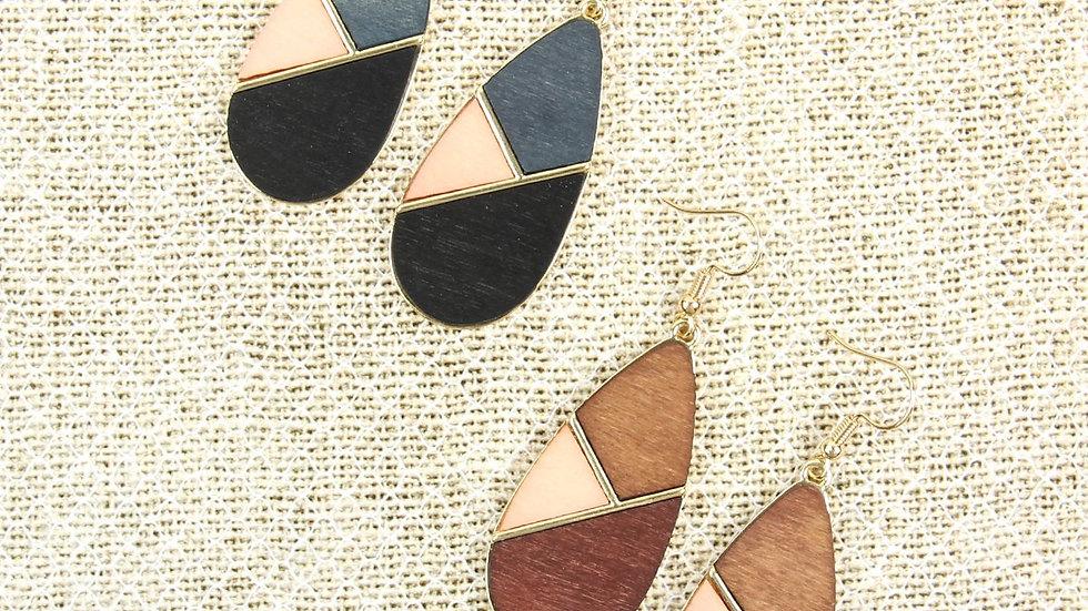 Coloured Polygon Teardrop Earrings