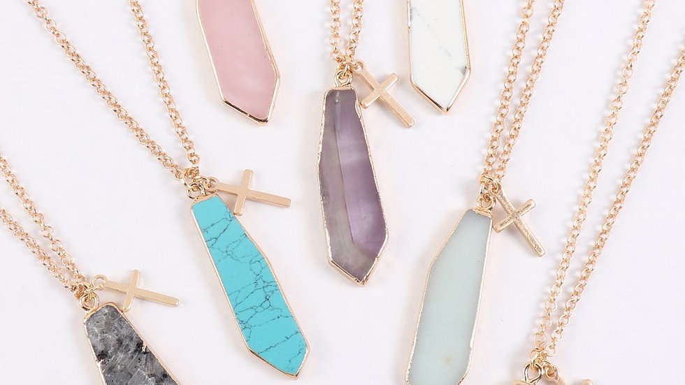 Natural Stone with Cross Pendant Necklace