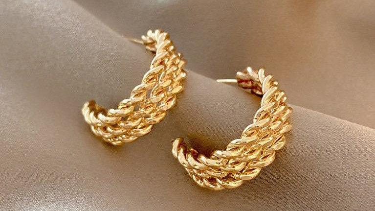Triple Braided Hoop Earrings