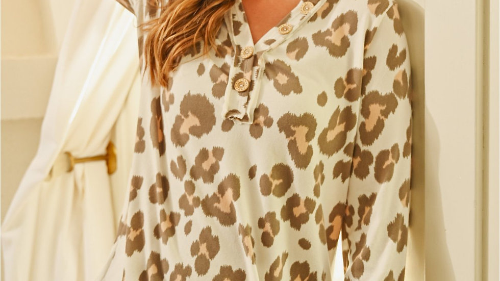 Button Front Long Sleeved Animal Print Top