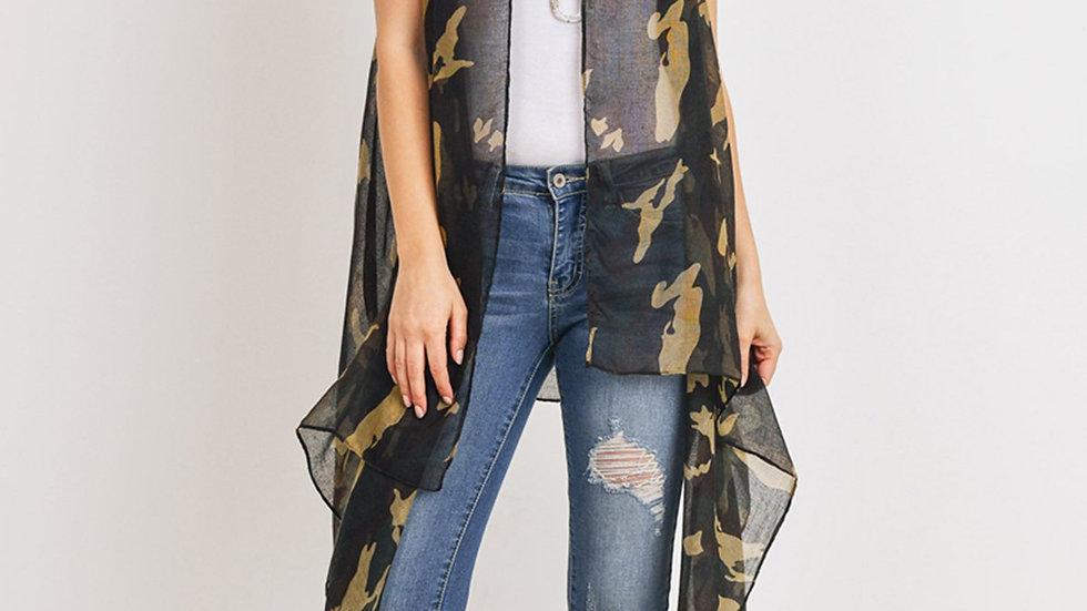 Knee Length Camouflage Open Front Kimono Vest