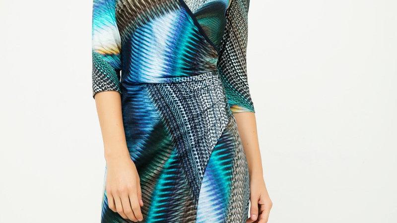 Print Jersey Faux Wrap Dress in Petrol