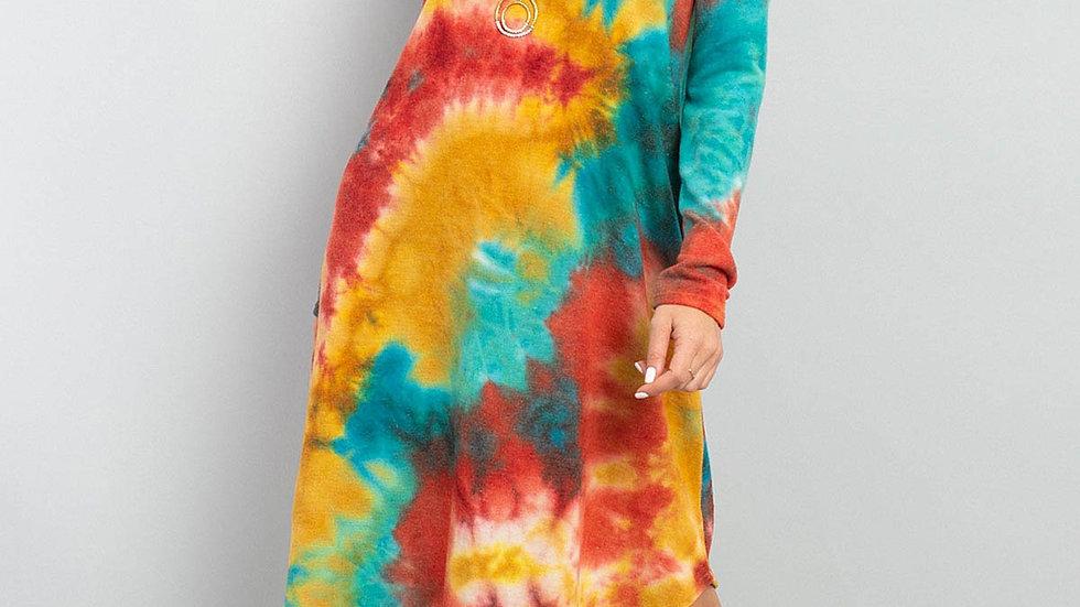 Tie Dye V-Neck Long Sleeves Round Hem Dress