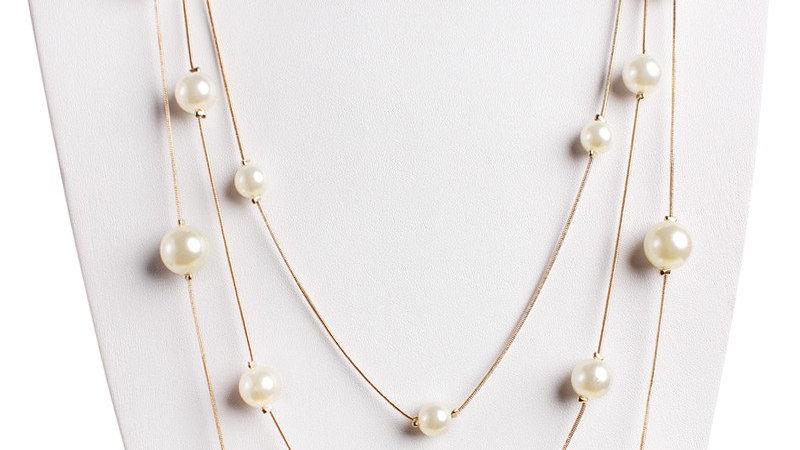 Delicate Pearl Chain Necklace
