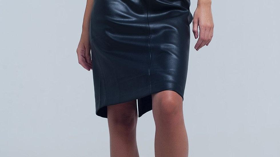 Black Midi Straight Faux Leather Skirt