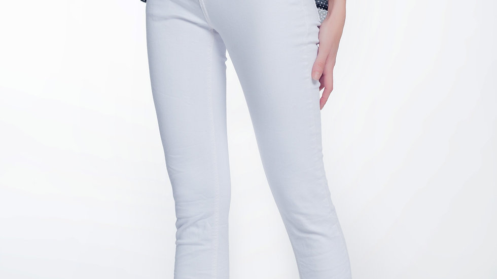 High Waisted Super Skinny Pants in White