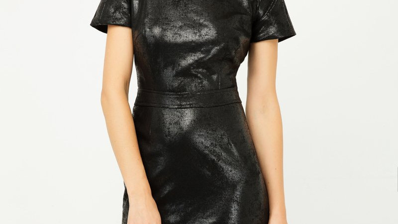 Black Leather Effect Fitted Dress