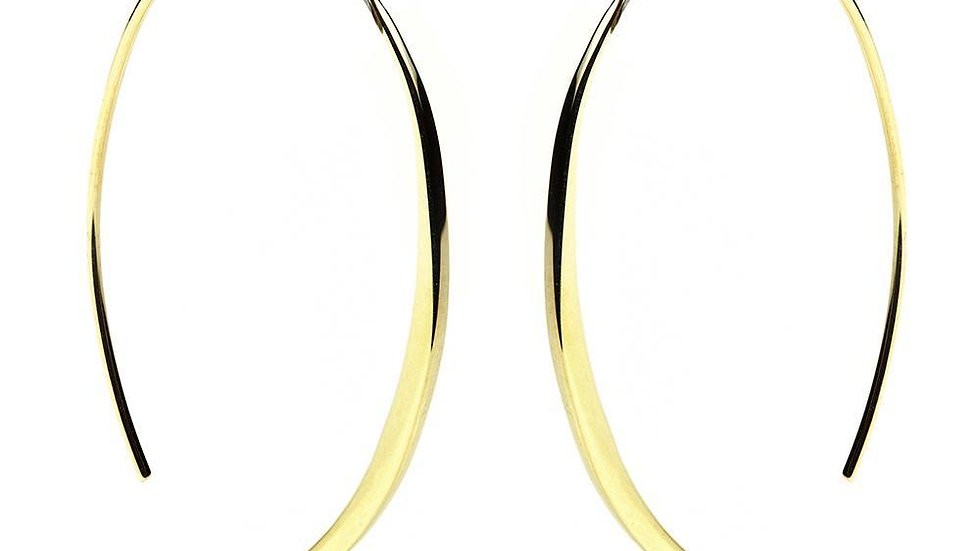 Gold Oval Pull Through Earrings