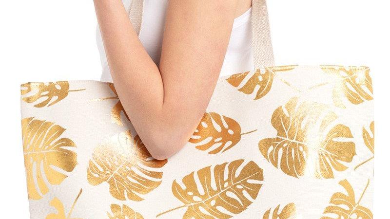 White Tropical Foil Leaves Beach Bag