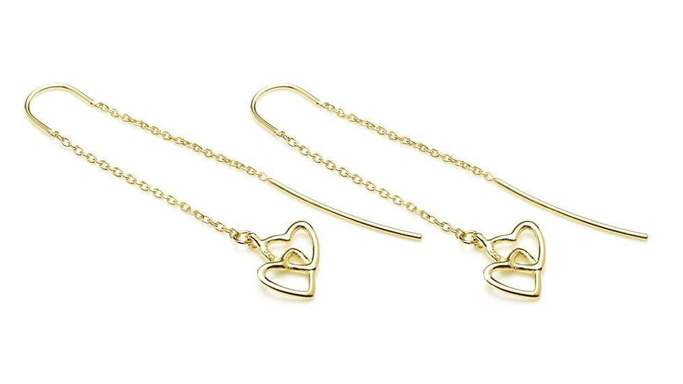 Gold Linked Hearts Threader Earrings