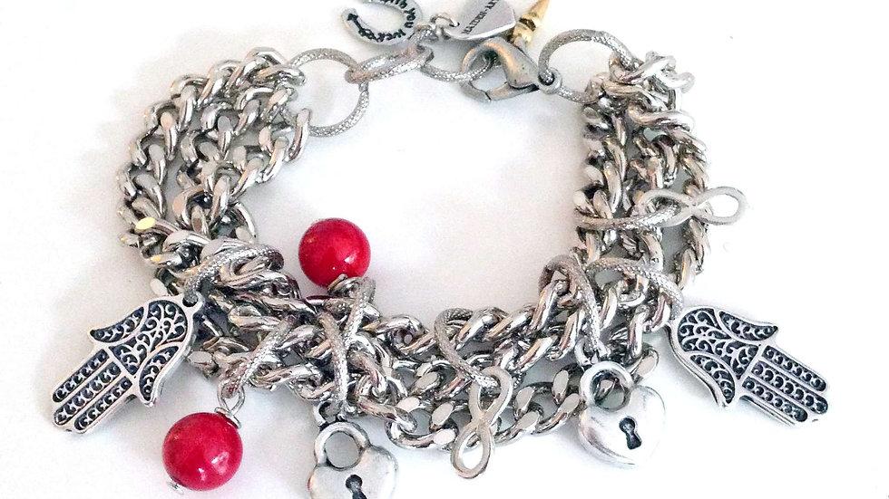 Valentine's Day Bracelet in Silver, Coral and Hamsa.