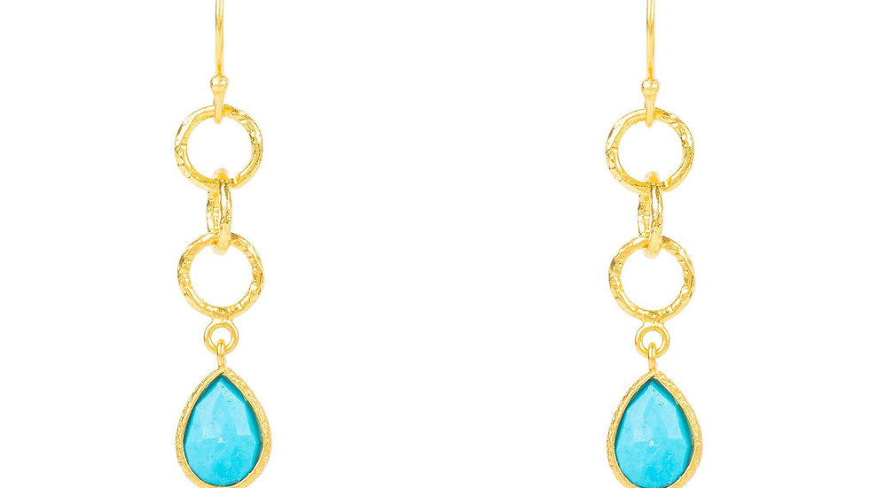Linked Gemstone Drop Earring Gold Turquoise